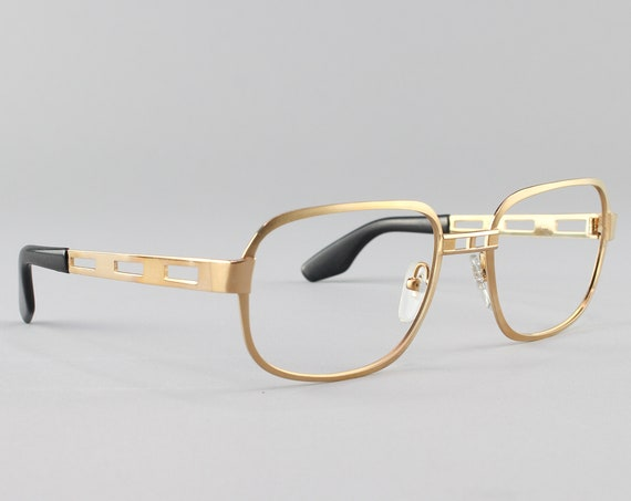 Vintage Eyeglasses | 80s Glasses | Gold Cut Out Eyeglass Frame | Deadstock Eyewear - AO32