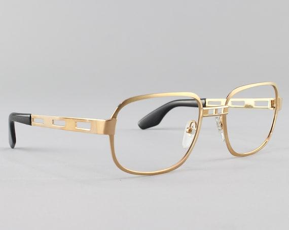 Vintage Eyeglasses | 80s Glasses | 23k Gold Plated Cut Out Eyeglass Frame | Deadstock Eyewear - AO32