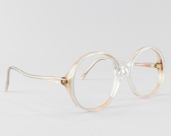 Vintage Eyeglasses | 70s Glasses | Round Eyeglass Frame | Clear Gray Glasses - Rony 9916