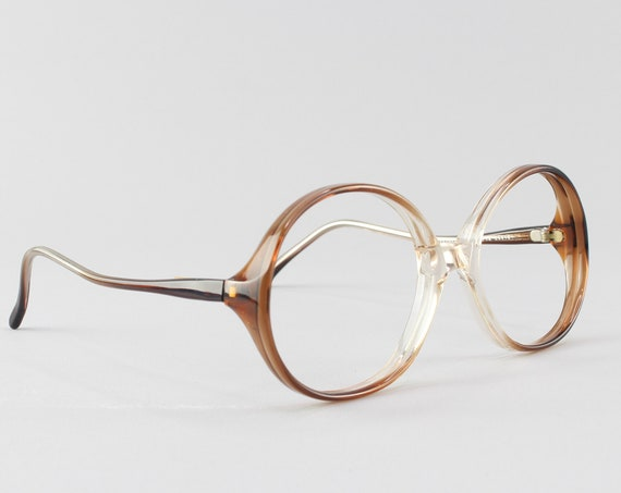 70s Glasses | Vintage Eyeglasses | Round Eyeglass Frame | Clear Brown Frames - Rony 9912