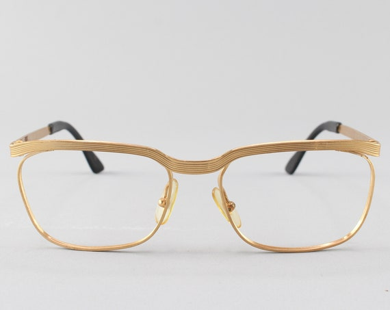 Vintage Glasses | 60s Eyeglasses | Browline Glasses Frames | Gold Eyeglass Frame | Minimalist Mod Glasses