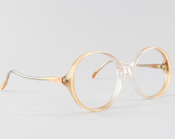 Vintage Eyeglasses | 70s Glasses | Round Eyeglass Frame | Clear Beige Glasses - Rony 9911