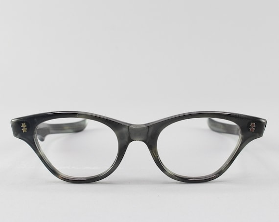 Vintage Eyeglasses | 60s Glasses | Victory Optical Cateye Frame | 1960s Aesthetic - Stormy
