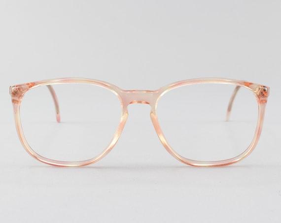 Vintage Eyeglasses | 80s Glasses | Clear Pink Eyeglass Frame | 1980s Aesthetic - Hampton