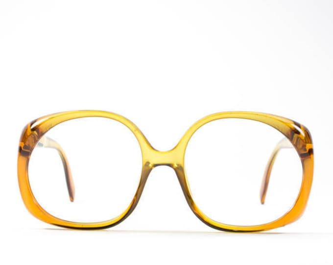 Vintage Eyeglasses | 70s Glasses | Round Oversize Glasses Frames | 1970s Deadstock | Clear Eyeglass Frames - 3009