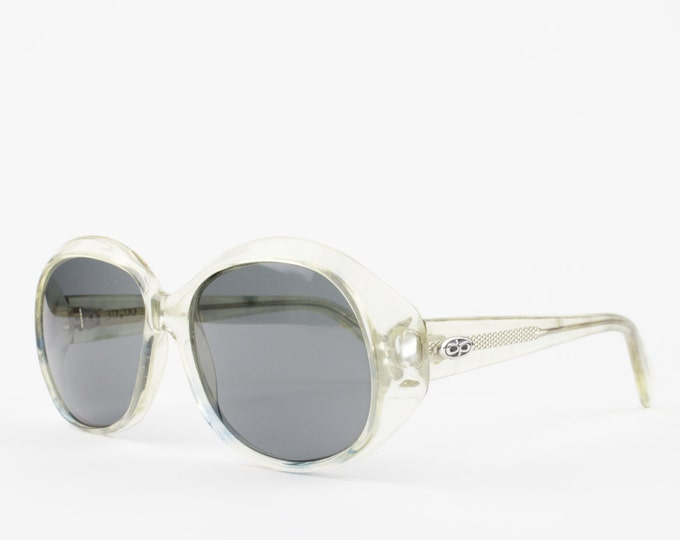 1960s Vintage Sunglasses | 60s Sunglasses | Oversized Clear Round Sunglasses with Grey Glass Lenses | NOS Vintage Deadstock - Colorado XX