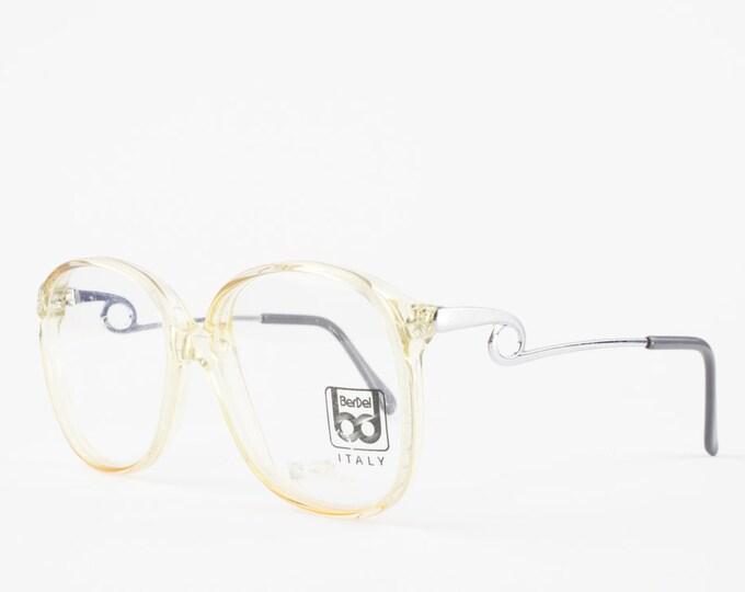 Vintage Glasses | Oversize Clear 80s Eyeglass Frame | Unique Temple Arms | NOS Round Eyeglasses - 4061 XX