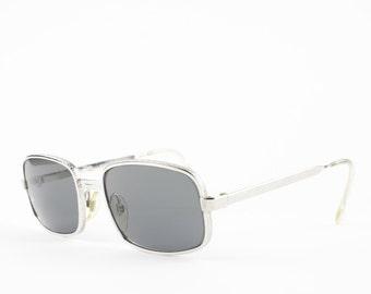 60s Vintage Sunglasses | 1960s GOLD Square Sunglasses | Grey Glass Lenses | NOS Vintage Deadstock Eyewear - Big Ben XX