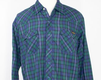 70s Vintage Western Shirt   Green and Blue Plaid Cowboy Shirt with Blue Pearl Snaps   Size Extra Large   Retro Grunge Workwear Rockabilly