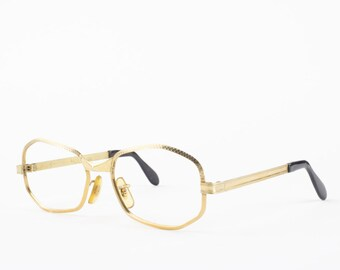 60s Vintage Glasses | 1960s Etched Geometric Gold Eyeglasses | Made in USA | NOS Eyeglass Frame | Deadstock Eyewear - Groovy