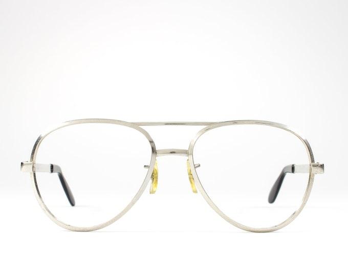 Silver 70s Glasses | 1970s Vintage Eyeglasses | Aviator Glasses Frames | Seventies Deadstock Eyewear - Dash