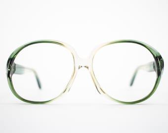 Vintage 70s Eyeglass Frame   Clear Green Round Oversized Glasses   NOS 1970s Eyewear   Vintage Deadstock Eyeglasses - Atlanta 3