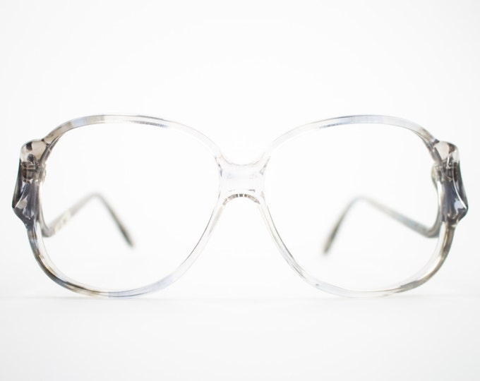 70s Vintage Glasses | Clear Grey Oversized Round Eyeglass Frame | NOS 1970s Eyeglasses | Deadstock Eyewear  - Riga 4
