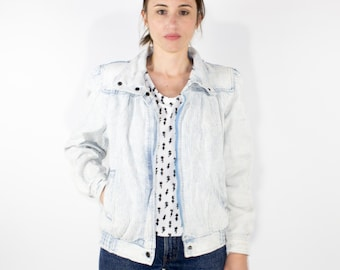 80s Vintage Acid Washed Denim Jacket | Distressed Striped White and Blue Jean Jacket | Size Small | Retro Boho Grunge Western Jacket