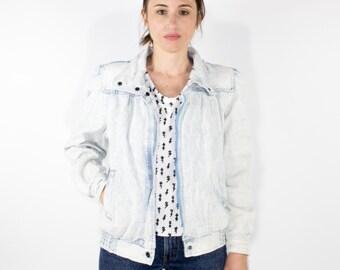 80s Vintage Acid Washed Denim Jacket   Distressed Striped White and Blue Jean Jacket   Size Small   Retro Boho Grunge Western Jacket