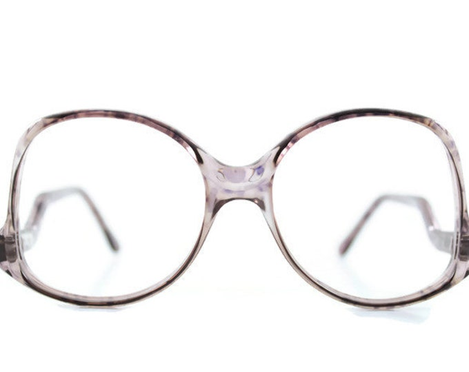 80s Vintage Round Glasses | Clear Purple Oversized Eyeglass Frame | 1980s NOS Eyeglasses - Melbourne 34