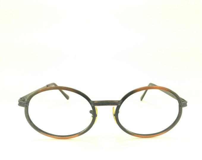70s Vintage Eyeglasses | 1970s Copper Etched Round Glasses | NOS Eyeglass Frame | Deadstock Eyewear - Holiday