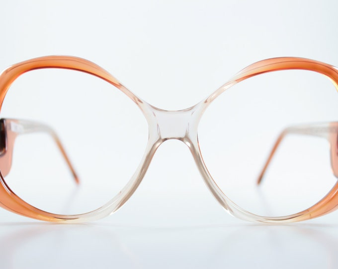 Vintage 1980s Translucent Amber Ombre Oversized Rounded Eyeglass Frame - Miami Wine Fade