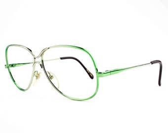 Vintage 70s Eyeglass Frame   Oversized Rounded Aviator Glasses   NOS 1970s Green and Silver Eyeglasses   Deadstock Eyewear - Love Lace Grn