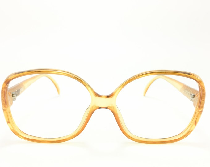 Vintage 80s Glasses | NOS Clear Oversize Yellow Eyeglass Frame | 1980s Pattern Temple Detail Eyeglasses - 3062