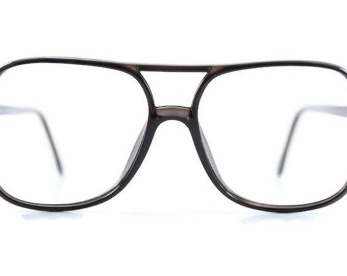 70s Vintage Eyeglasses | Clear Dark Grey Aviator Glasses | NOS 1970s Aviator Eyeglass Frame | Deadstock Eyewear - St. Louis Grey