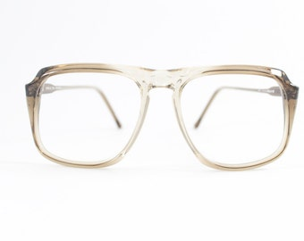 Vintage 80s Glasses | Clear Light Grey Aviator Eyeglass Frame | 1980s NOS Eyeglasses - Peninsula Feather