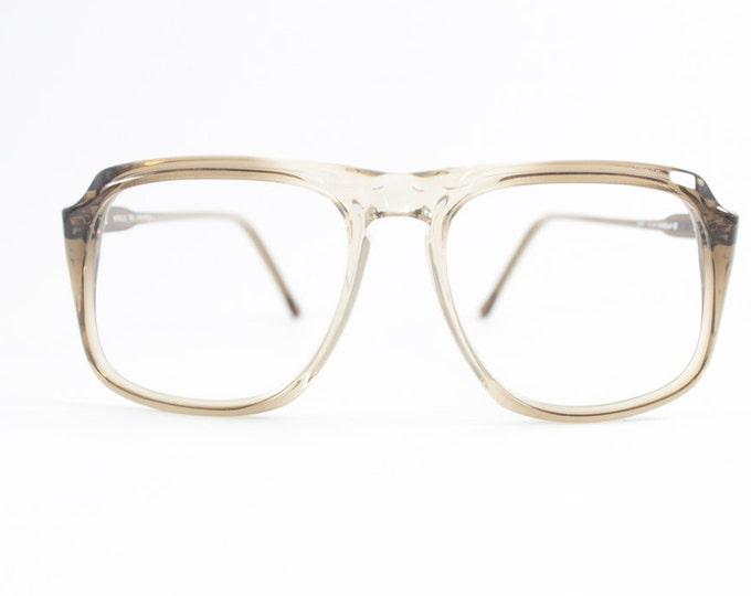 Vintage 80s Glasses | Clear Light Grey Aviator Eyeglass Frame | 1980s NOS Eyeglasses - Peninsula Feather