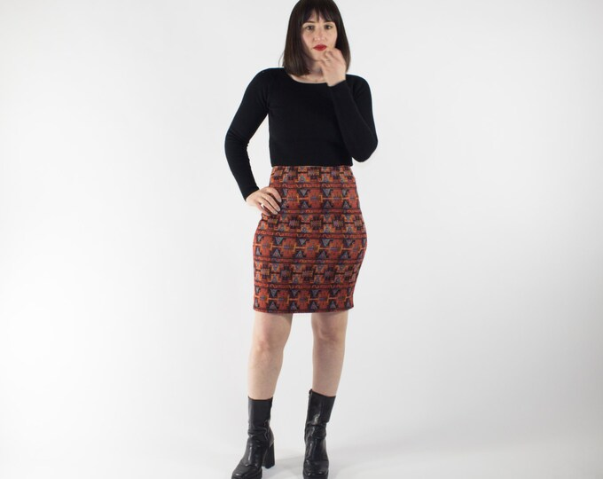 Vintage High Waisted Skirt | 90s Native Print Knit Bodycon Skirt