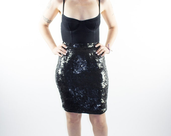 Vintage Sequin Skirt | 90s Metal Black Sequin Skirt | Size 2 - 4