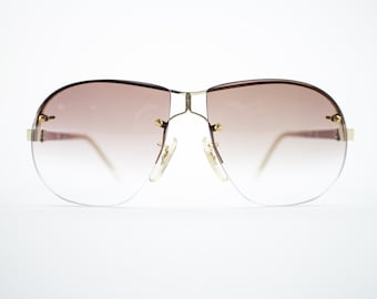 Vintage 1970s Sunglasses | 70s Oversize Aviator Style | Gold and Brown Gradient Lenses | Vintage Deadstock - Minus Gold