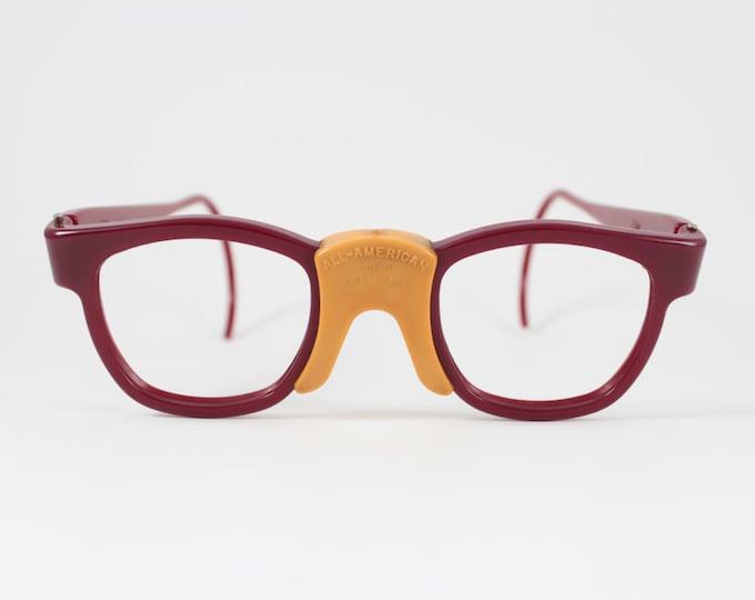 60s Vintage Eyeglasses | 1960s Red Nylon Sport Safety Glasses | NOS Eyeglass Frame | Deadstock Eyewear - Superman