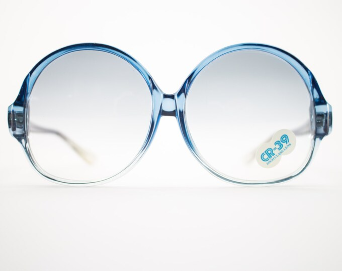 Vintage Sunglasses | Round Oversize Clear Blue Sunglasses | 1970s Deadstock - 1070 Blue