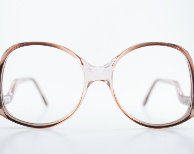 Vintage Eyeglass Frame | Translucent Two-Tone Grey Pink Ombre | 1980s Oversize Rounded  - Melbourne 44