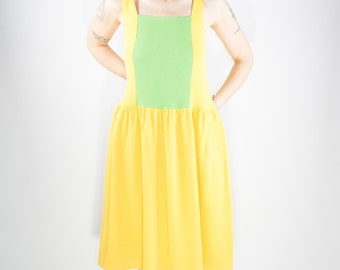 Vintage Josie by Natori Dress   80s Yellow and Green   Medium