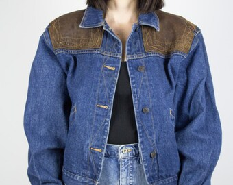 Vintage Denim Jacket   80s Jean Jacket with Leather Shoulders   Medium