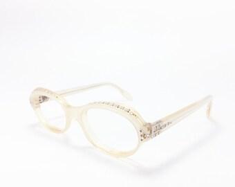 Vintage 60s Eyeglasses   1960s Clear White Cateye Glasses with Crystal Details   NOS Eyeglass Frame   Deadstock Eyewear - Adelle
