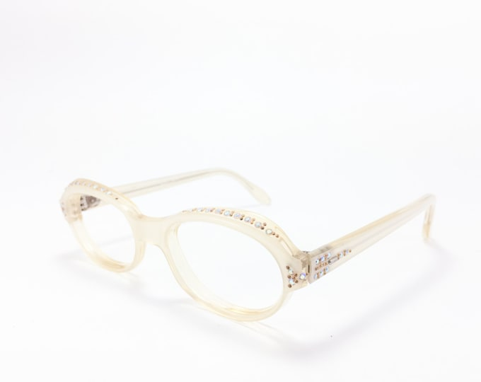 Vintage 60s Eyeglasses | 1960s Clear White Cateye Glasses with Crystal Details | NOS Eyeglass Frame | Deadstock Eyewear - Adelle
