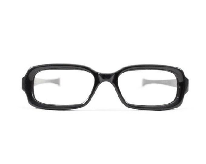 60s Vintage Glasses | 1960s Black Metal Rectangle Horn-Rimmed Eyeglasses | NOS Eyeglass Frame | Deadstock Eyewear
