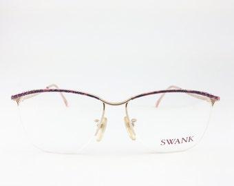 Vintage 80s Glasses   Gold and Pink Eyeglass Frame with Demo Lenses   1980s NOS Eyeglasses - Elle XX