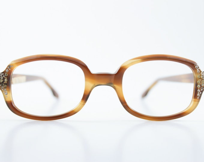 Vintage 1960s Translucent Amber Tortoiseshell Oval Horn-Rimmed Eyeglass Frame with Crystal Embellishment