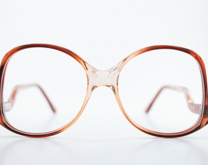 Vintage 1980s Cute Translucent Two-Tone Amber Peach Ombre Oversized Rounded Eyeglass Frame - Melbourne 23