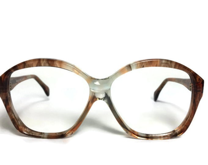 Vintage Eyeglass Frame | Clear Grey and Peach | Oversize Round Glasses  - Alida - 33002