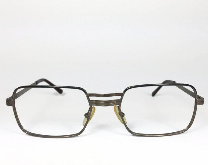 1960s Vintage Glasses | Retro Rectangle Eyeglasses | Grey Gunmetal Patina | NOS 60s Eyeglasses - Colt