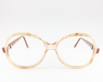 80s Vintage Eyeglass Frame | NOS Clear Brown and Cream Glasses | Oversize Round 1980s  Glasses - Dune XX