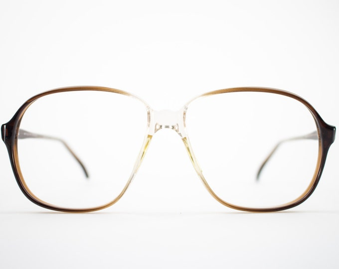 80s Vintage Eyeglass Frame | Oversized Clear Brown Glasses | NOS 1980s Glasses Frames - Pisa 9912