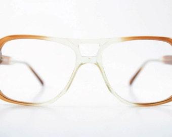 Vintage 70s Aviator Glasses   Clear Brown Aviator Eyeglass Frame   NOS 1970s Small Eyeglasses   Vintage Deadstock Eyewear  - Jim