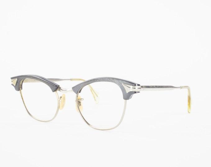Vintage 60s Glasses | 12k Gold Filled Horn-Rimmed Eyeglass Frame | 1950s NOS Shimmering Grey and Silver Eyeglasses - Hudson