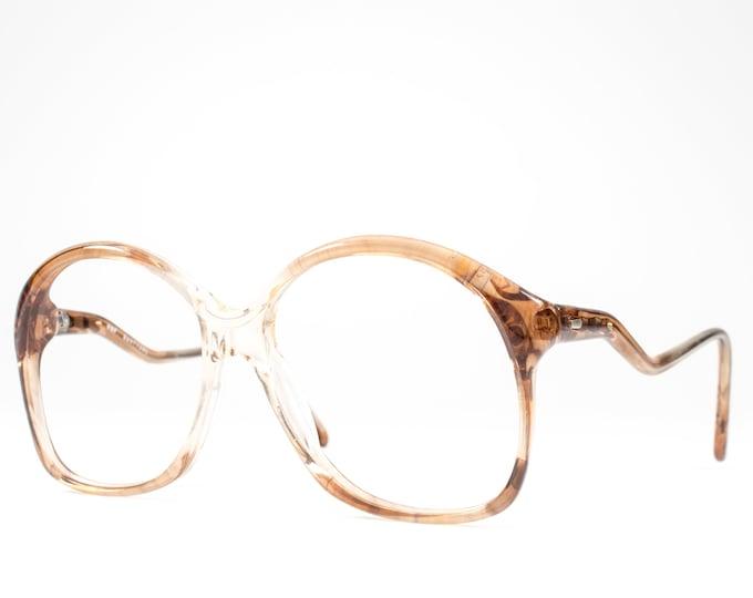Vintage Eyeglasses | Clear Beige 80s Glasses | Cute Eyeglass Frame | 1980s Oversized Round Glasses - 307 UIO003