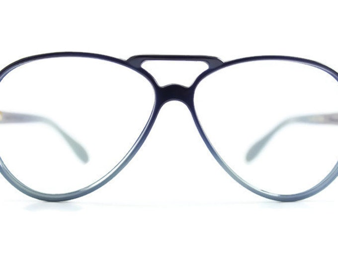 70s Vintage Eyeglasses | Blue Nylon Aviator Glasses | NOS 1970s Aviator Eyeglass Frame | Deadstock Eyewear - Huckleberry