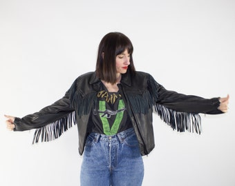 Vintage Leather Motorcycle Jacket | 80s Black Fringe Biker Jacket | Easyriders Biker Coat | Cute Short Crop Leather Jacket | Small